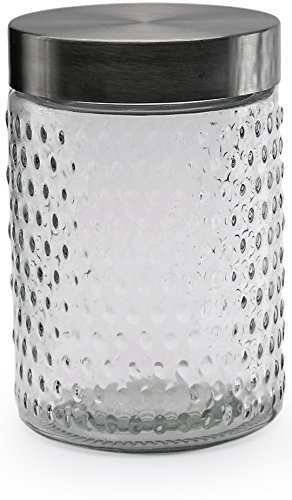 Circleware 7536 07536 Flicker Medium Hobnail Embossed Canister with Silver Finish Lids, 44oz.