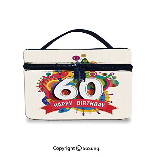 60th Birthday Decorations Adorable Roomy Makeup Bags Modern Geometric Fairytale Theme Castle Boat Sixty Party ImageLarge Makeup Bag,9.8x7.1x5.9inch,Multicolor