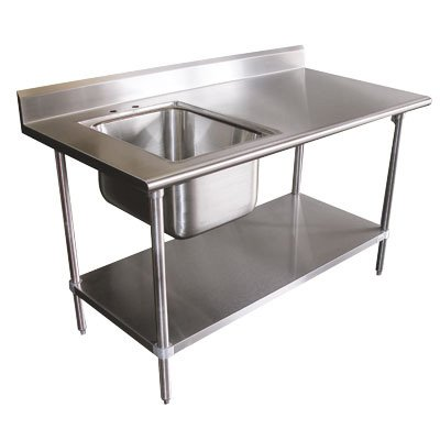 "Single Work Table Sink with Faucet Width: 60"" -  Advance Tabco, KMS-11B-305R"