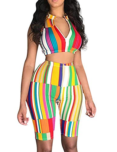 Women Rainbow Stripes 2 Piece Outfits Fake Collar Front Zipper Crop Top Knee-Length Pants