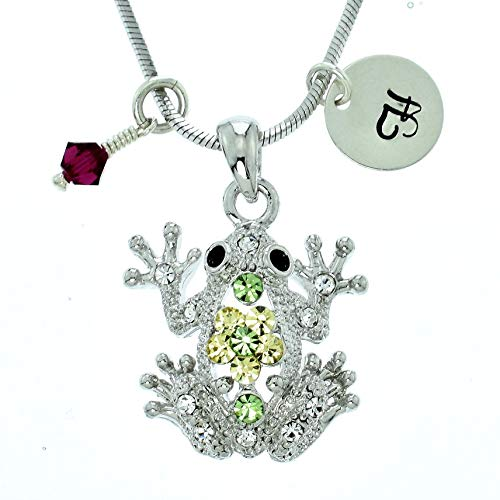 Custom Frog Pendant Green Sparkling Crystals Personalized Necklace Hand Stamped Initial Letter and Birthstone Charms Chain Gift ()