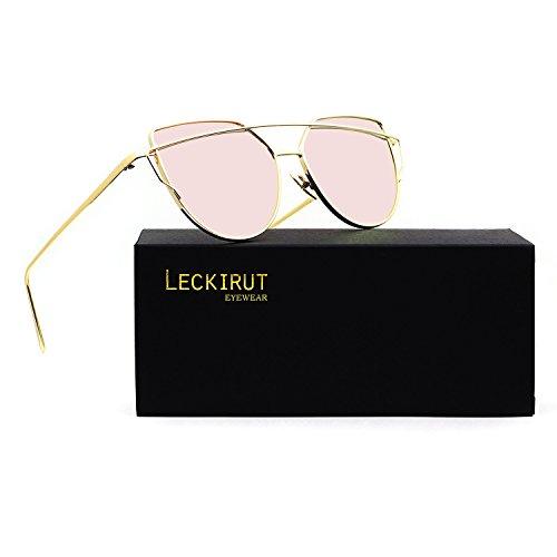Leckirut Women Cat Eye Sunglasses Mirrored Flat Lenses Street Fashion Metal Frame UV400 golden frame/pink - Buy Pink Sunglasses Criss Darren