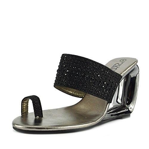 Kick Footwear - Gold Metallic Damen High Heel Wedding Party Prom Damen Schuhe Schwarz