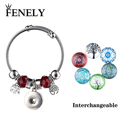 (FENELY Snap Bracelet Button Jewelry Charms Tree of Life Elephant Womens Silver Bangles Snaps Sets DIY Charm Bracelets for Women Fashion Girls Gifts (Red))