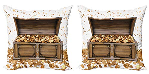 Ambesonne Chest Throw Pillow Cushion Cover Pack of 2, Wealth Themed Gold Coins Kings Ransom Wooden Box Pirate Treasure Picture, Zippered Double-Side Digital Print Decor, 16