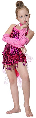 Modern Day Princesses Costumes (Seawhisper Kid's Sequins Latin Dance Dress School Show Set Halloween Costumes)