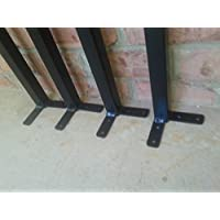 Four Black Powder Coated 28 Inch Straight Square Table leg