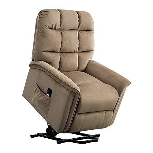 BONZY Lift Recliner Chair Power Lift Chair with Gentle Motor Velvet Cover Modern Design – Mocha