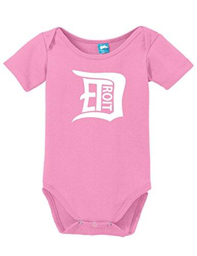 Detroit D Printed Infant Bodysuit Baby Romper Pink