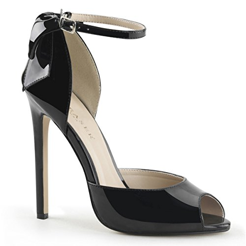 Patent Peep Toe Bow - Pleaser 5 Inch Heel Peep Toe Ankle Strap D'Orsay Pump With Back Bow (Black Patent;7)
