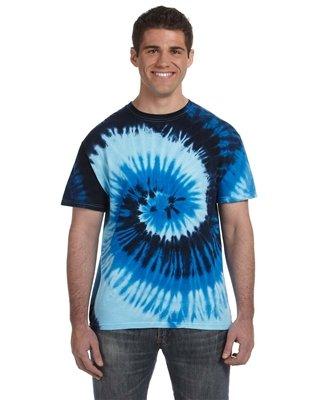 tie dye Adult Tie-Dyed Cotton Tee - Blue Ocean Swirl - 4XL