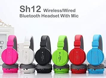 Buy Sh12 Wireless Bluetooth Headphones With Built In Mic Portable And Fordable Sd Card Slot Compatible With Android Ios Windows Devices Blue Online At Low Prices In India Amazon In