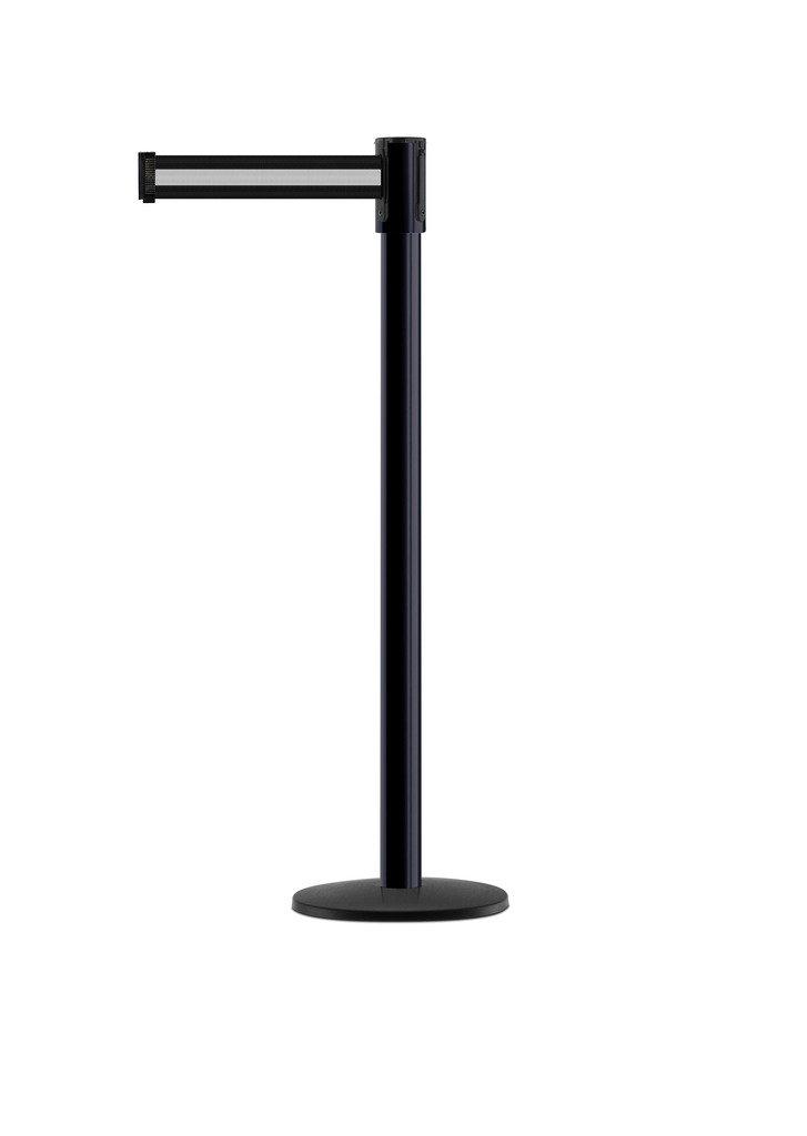 Tensabarrier - 890B-33-33-33-STD-NO-S3X-C - black post, 2'' wide, 7'6'' length Stripe Black & White belt