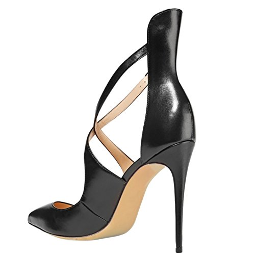 US 15 196 Black Strap Pointed 5 High Y Heels matte Women 5 Shoes MERUMOTE Pumps Cross Strappy Toe 7qC5RZ5wx