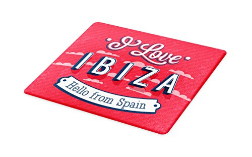 Lunarable Ibiza Cutting Board, Spring Break Vacation Place Advertisement Design Hello from Spain, Decorative Tempered Glass Cutting and Serving Board, Large Size, Dark Coral Blue and White by Lunarable