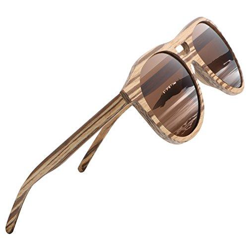 Ablibi Wood Polarized Sunglasses Men Classic Glasses lentes de sol para hombre in Wood Box (Zebrawood, Brown)