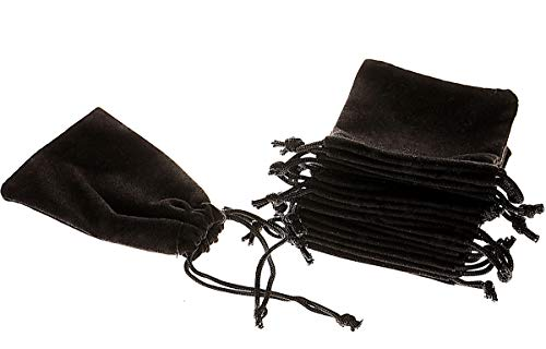 Mini Skater 50pcs Jewelry Velvet Cloth Pouch Black Drawstring Small Bags for Dice 2.75'' x - Box Jewel Gift