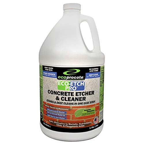 Eco-Etch Pro Concrete Etcher and Cleaner | Biodegradable Phosphoric Acid Alternative | Efflorescence, Dust Remover | 1 Gallon