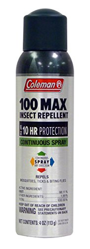 Coleman 100% Deet Insect Repellent, 100 Max Continuous Can Spray 4oz (98.11%)