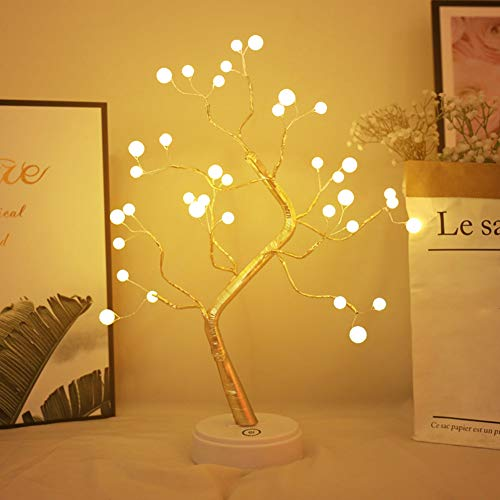 XIYUNTE Pearl Tree Lights Night Light Bedside & Table Lamps with Touch Button, 36 LED Pearl Beads Fairy Light Children's Room Décor, Battery & USB Powered Tree Lamp for Kids Room,Christmas,Festive