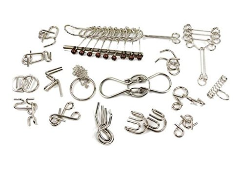 Metal IQ Ring Toys, HUNEEL 18 Pcs IQ Test Mind Game Toys Metal Puzzles Buckle Lock Brain Teasers Toy Set (19 PCS) ()