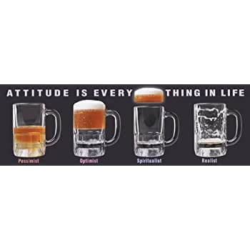 Pessimist Optimist Beer Glass Novelty Drinking Humor College Poster Print 12x36