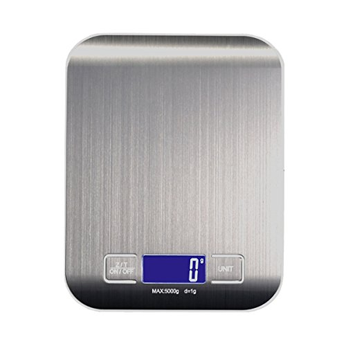 Sicneka Digital Kitchen Scale, Multifunction Food Scale with LCD Display, Stainless Steel (Batteries Included) (Silver)
