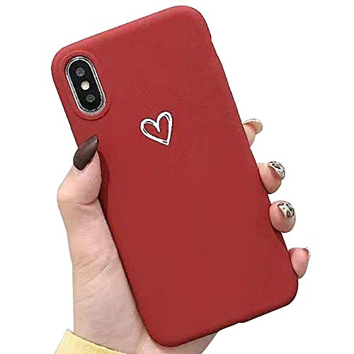 - for iPhone Xs Max Case LAPOPNUT Chic Matte Case Cute Love-Heart Shape Soft TPU Case Ultra Slim Light Weight Protective Cover Back Case,Red
