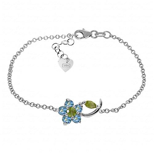 ALARRI 0.87 CTW 14K Solid White Gold Flower Bracelet Blue Topaz Peridot Size 8.5 Inch Length by ALARRI