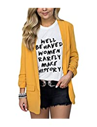 BYWX Women Lapel Loose Fit with Pockets Casual Long Sleeve Plus Size Blazer