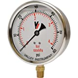 Valley Instrument Grade A 4in. Stem Mount Glycerin Filled Gauge - 0-60 PSI