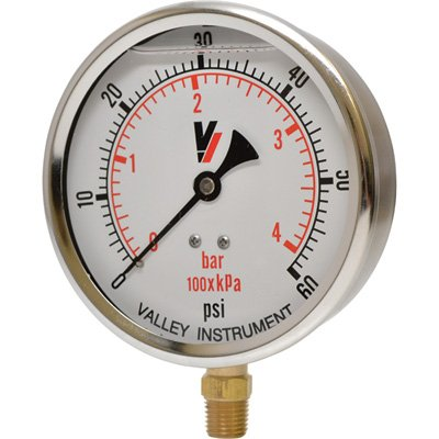Valley Instrument Grade A 4in. Stem Mount Glycerin Filled Gauge - 0-60 PSI by Valley Instrument