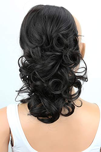 PRTTYSHOP Hair Piece Pony Tail Extension Draw String Voluminous Curly Heat-Resisting 14 off black # 3 PH201