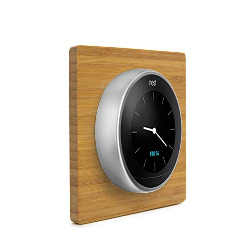 (Thermostat Wall Plate Cover (Solid Bamboo | Square | Glossy Finish) for Nest Learning Thermostat 1st 2nd 3rd Generation and E Wooden )