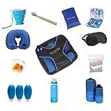 Travel Kit Travel Set 15 Products Packing Cube, 2x Towels, Water Bottle, Neck Pillow, Toothbrush, Sewing Kit, Collapsible Cup, 3x 3.3 fl.oz Bottles, Shopping Bag, Washing Bag, Sleeping Mask, Earplugs