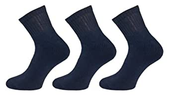 Starlite~Mens & Womens Quarter Socks 3 Pair Pack Blue-Size 10-13-US