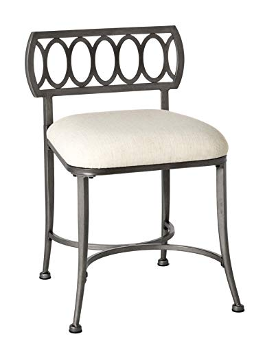 Hillsdale Furniture R51015 Canal Street Vanity Stool, Pewter from Hillsdale Furniture
