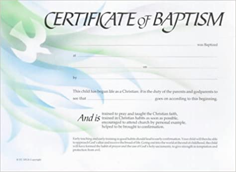 Certificate Of Baptism: Amazon.Co.Uk: 9780281046102: Books