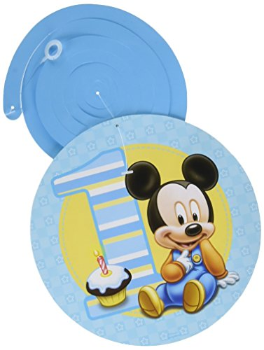 12-Piece Mickey's 1st Birthday Swirl Decorations, Multicolored (Mickey Mouse Baby Shower Ideas)