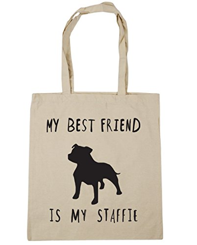 HippoWarehouse My best friend is my staffie dog Tote Shopping Gym Beach Bag 42cm x38cm, 10 litres Natural