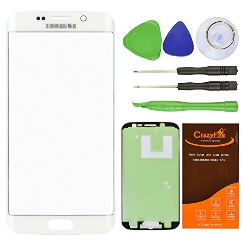 CrazyFire White Front Outer Lens Glass Screen Replacement For Samsung Galaxy S6 Edge SM-G920 G925A G925P G925T G925V G925R4 G925F With Tools Kit And Adhesive