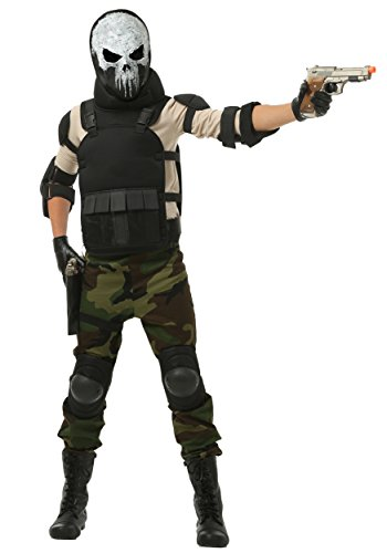 Skull Military Man Boys Costume - L