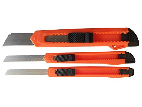 (Box Cutter/Utility Knife (3 PACK) - Retractable Snap-Off Blades - Always Razor Sharp - Perfect for Home/Office/Hobby/Arts and Crafts)