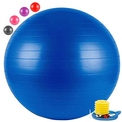 Surat Dream Anti Burst Yoga Gym Balls for Exercise with Foot Pump  Multi Color, 65 cm