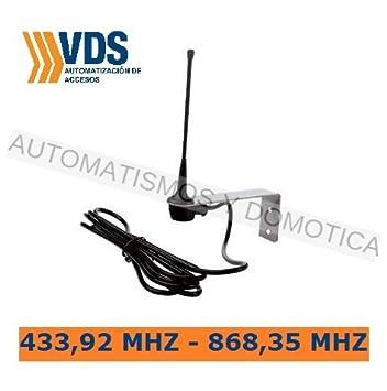 Antena receptora estandar sintonizada 433Mhz-868Mhz para mejorar alcance de señal de mandos de garaje