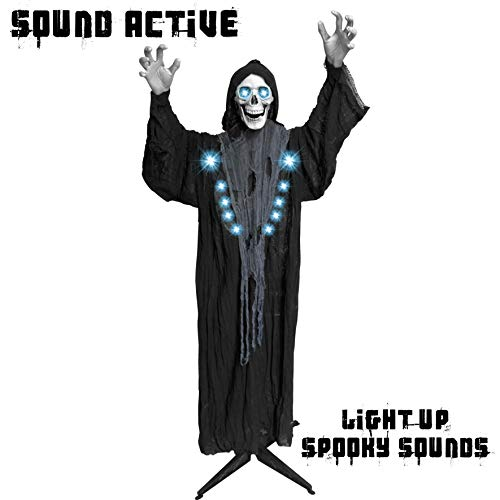 JOYIN Life Size Standing Animated Grim Reaper with LED Lights for Halloween Indoor and Outdoor