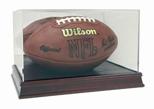 Deluxe Acrylic Full Size Football Display Case with Cherry Wood Stain - Display Football Wood Case Base