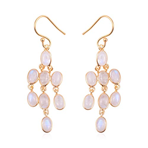 Dangle Drop Earrings 925 Sterling Silver Vermeil Yellow Gold Oval White Moonstone Gift Jewelry for Women