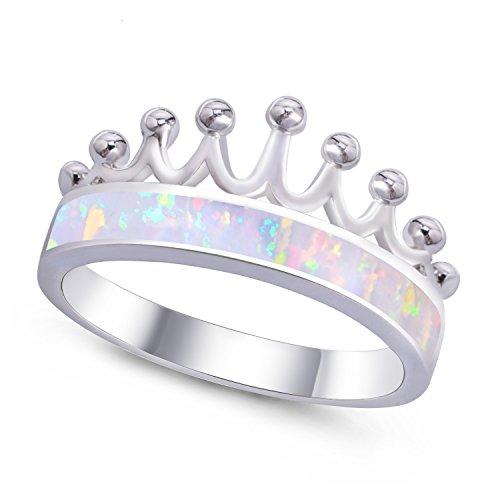 KELITCH Fashion Princess Created Opal Crown Wedding Rings - Size - Mens With Band Wedding Opal