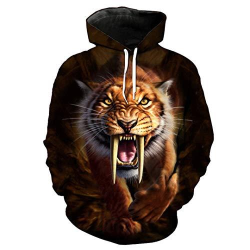 Roaring Saber-Toothed Tiger Print Hoodie Streetwear Fun Pullover wear HU2019 XXL